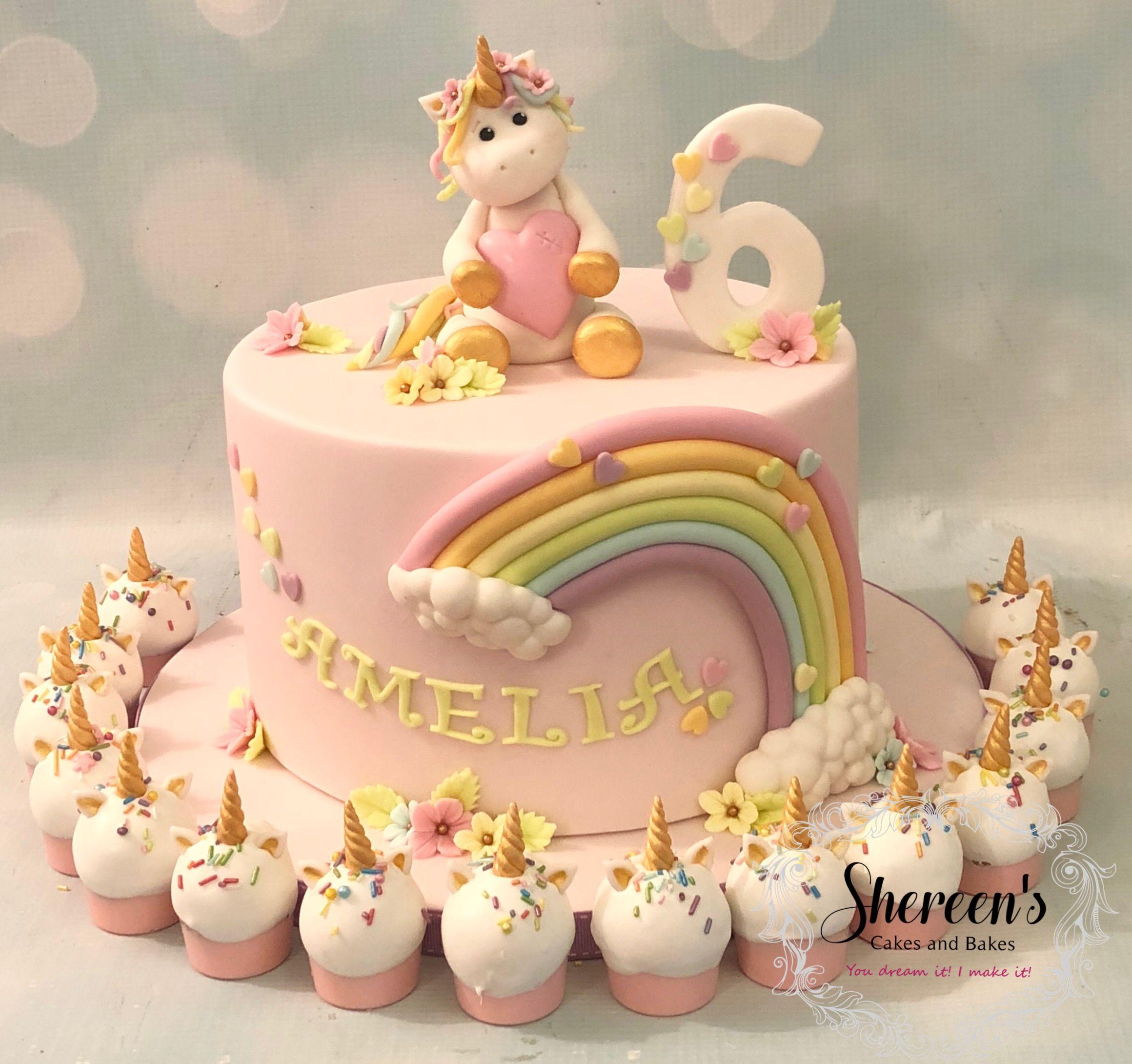Fantastic Pastel Rainbow Unicorn Cake With Cake Bombs Pops Heart Birthday Funny Birthday Cards Online Kookostrdamsfinfo