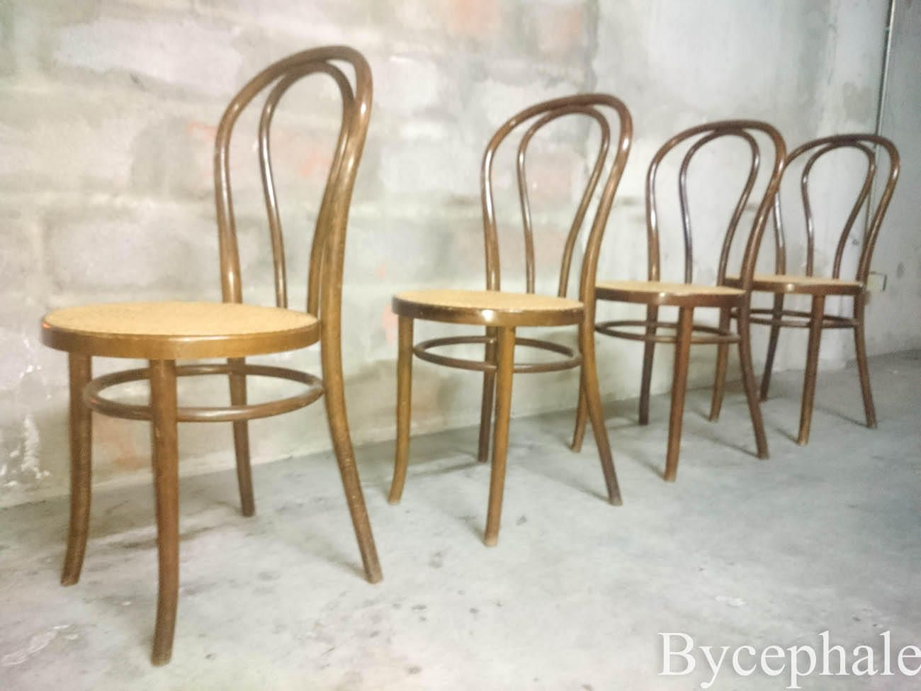 Vintage thonet style cafe chairs with stenciled seats - 2 Of 4 Vintage Bentwood Bistro Chairs Thonet Signed Cane Seat By Bycephale On Etsy