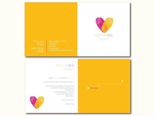 Einladungskarten - Hochzeitseinladung - Fingerprint - ein Designerstück von der-frohe-Bote bei DaWanda