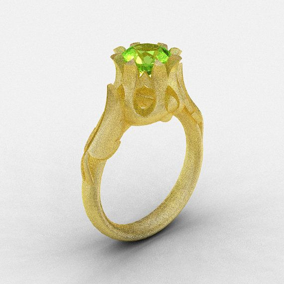 Natures Nouveau 14K Yellow Gold Peridot Wedding Ring by artmasters, $849.00