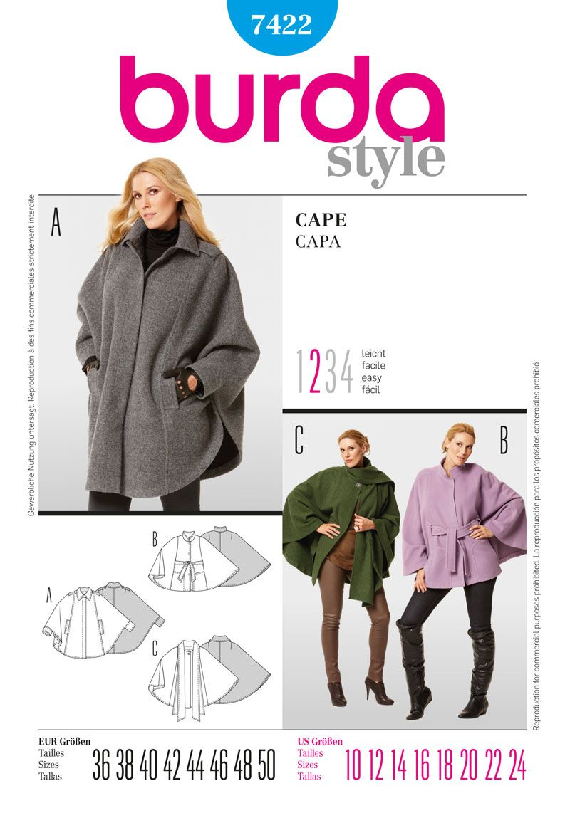 Simplicity Creative Group - Burda Style, Cape | Sewing | Pinterest