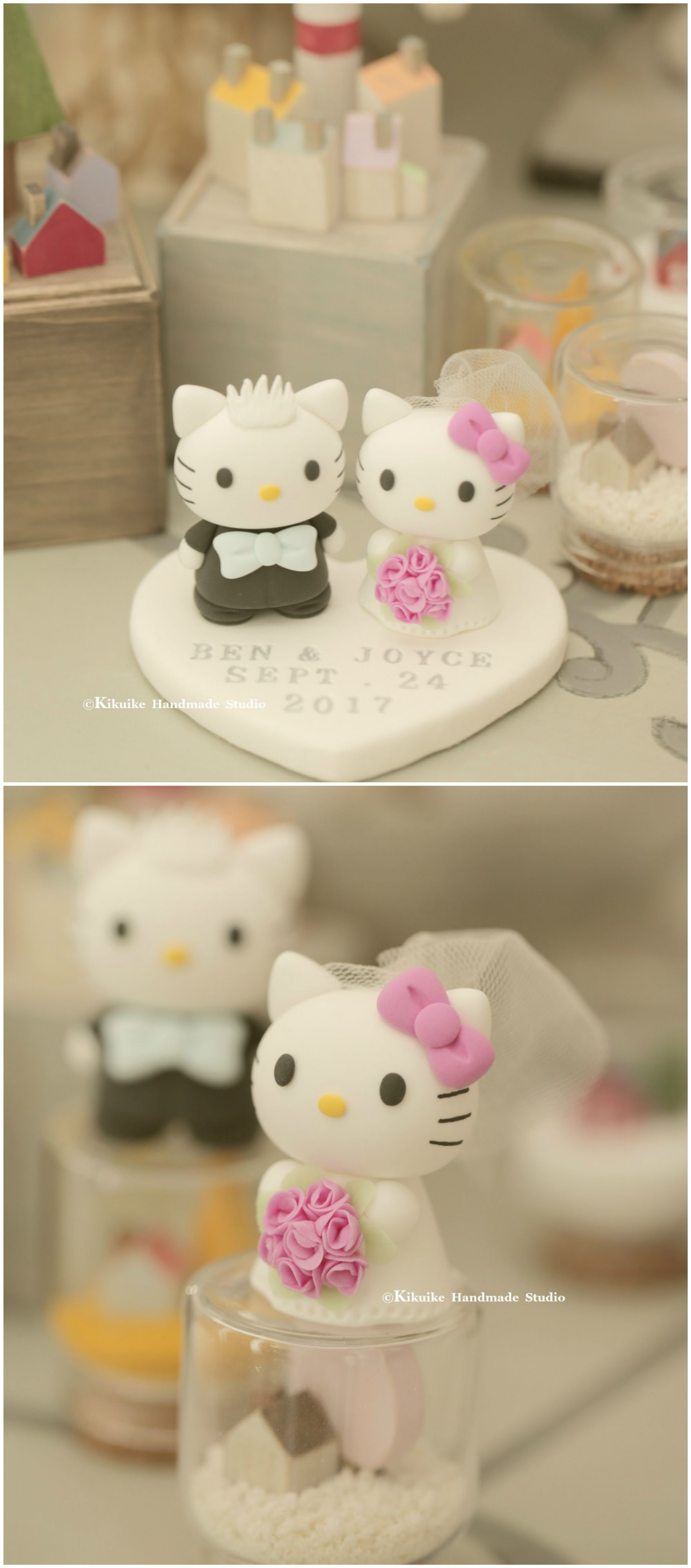 Hello Kitty Daniel Bride And Groom Wedding Cake Topper Love Cats Custom
