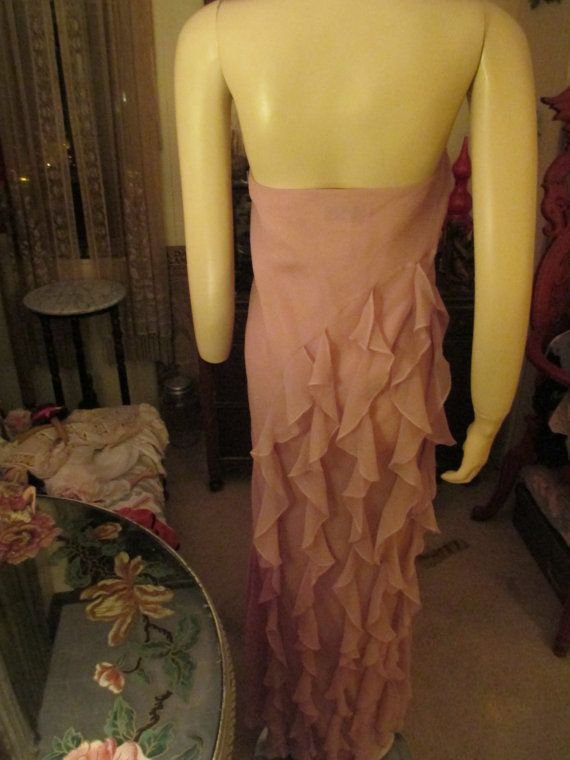 Ethereal Vintage Chiffon Skirt Dusty Pink Ruffles by SheilaBoop