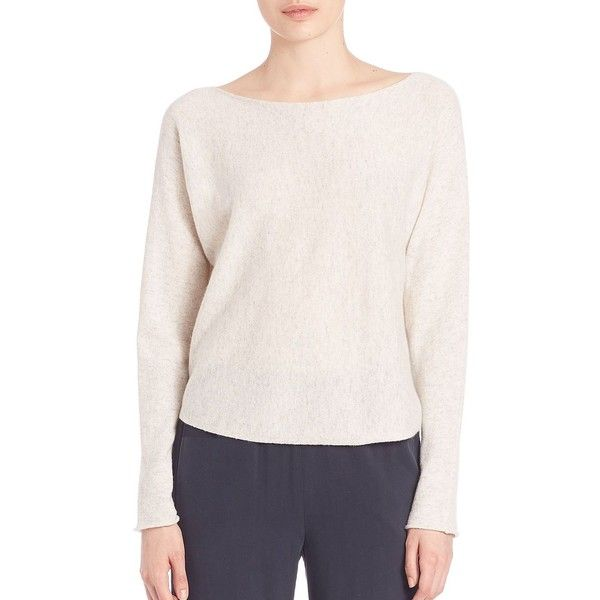 Vince Cropped Boatneck Sweater ($310) ❤ liked on Polyvore featuring tops, sweaters, apparel & accessories, cloud, bateau neckline tops, vince tops, boat neck tops, cropped sweater y bateau neck sweater
