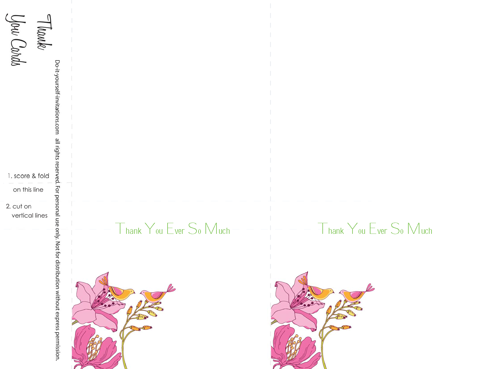Thank You Cards Lovebird Garden Wedding Invitation Template