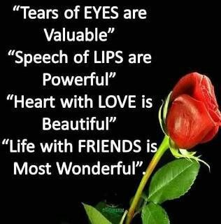 Tears of EYES are valuable. Speech of LIPS are powerful. Heart with LOVE is beautiful. Life with FRIENDS is most wonderful. #quotes