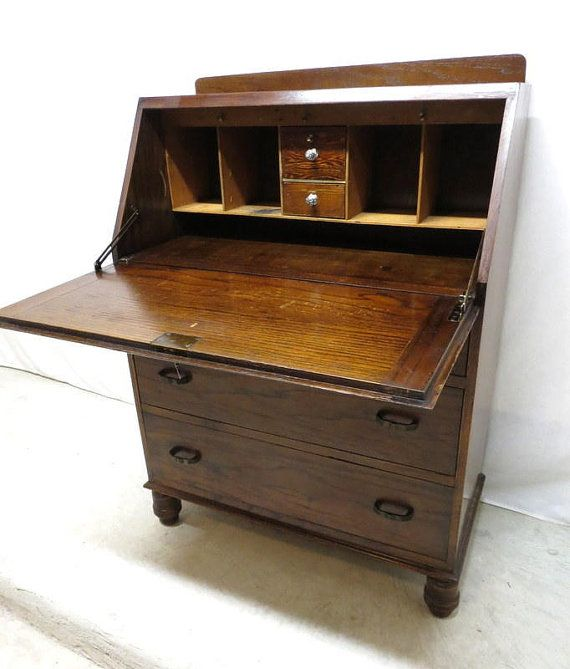 Antique Drop Leaf Desk Vintage Front Secretary Thediapercake Home Trend Small
