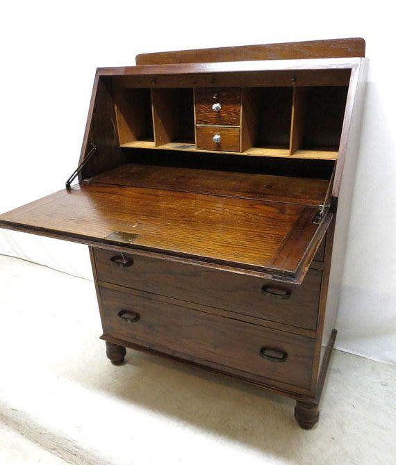 Antique Art Deco Tiger Oak Drop Front Desk Secretary Bureau Dresser Chest  Drawer - Antique Art Deco Tiger Oak Drop Front Desk Secretary Bureau
