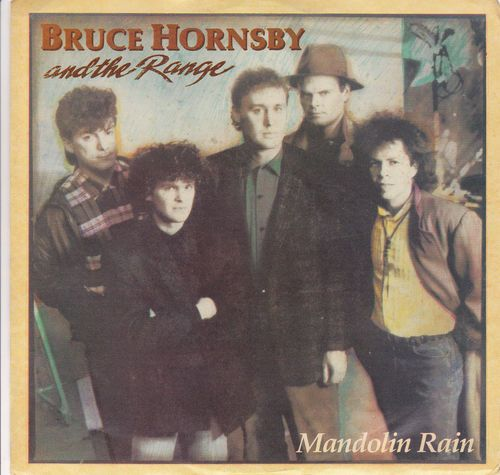 """Bruce Hornsby / Mandolin Rain / The Red Plains (Live) / 7"""" Vinyl 45 & Picture Sleeve"""
