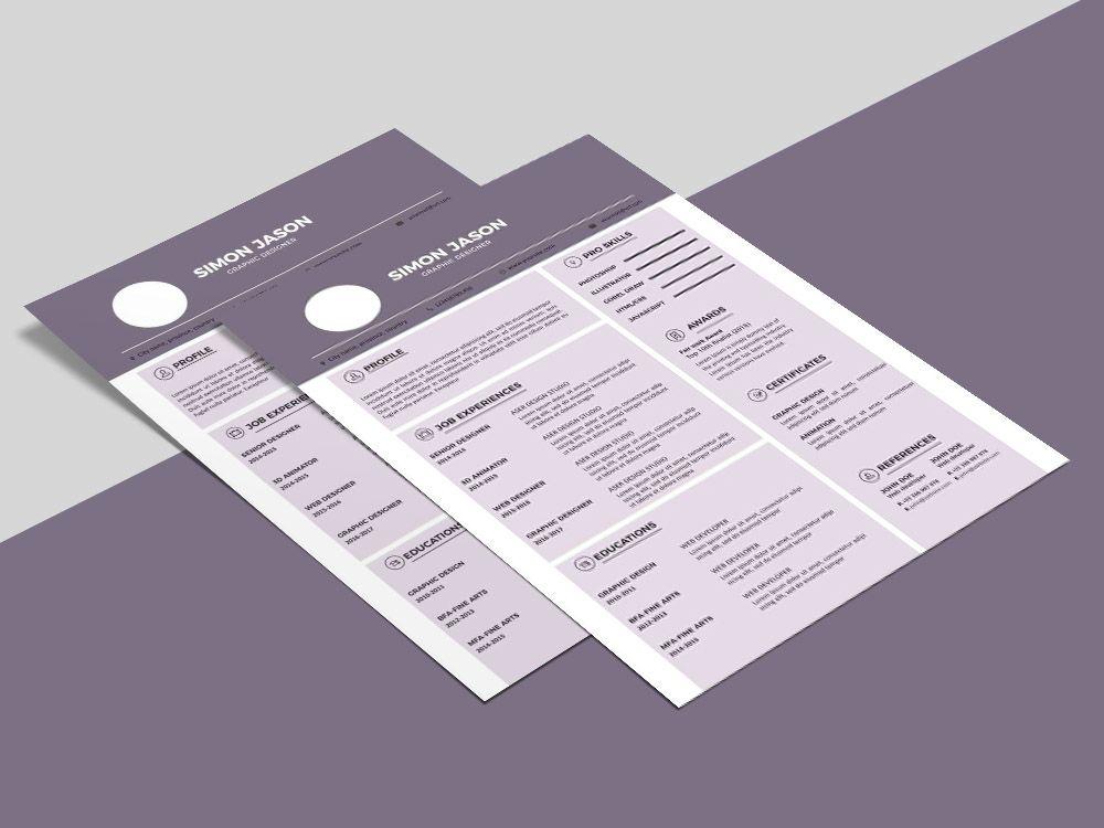 Free Purple Resume Template Business Resume Template Resume Template Simple Resume Template