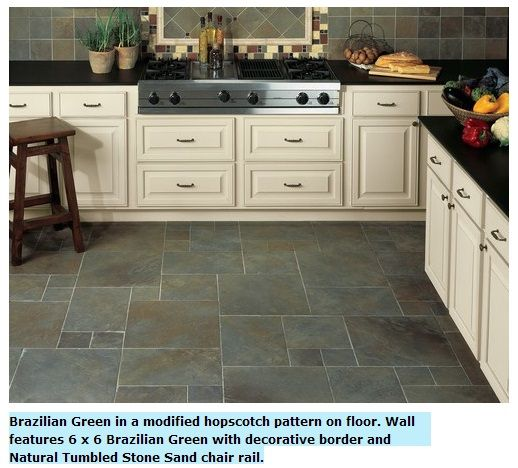 Kitchen Floor Examples: Example Of Daltile Continental Slate Brazilian Green