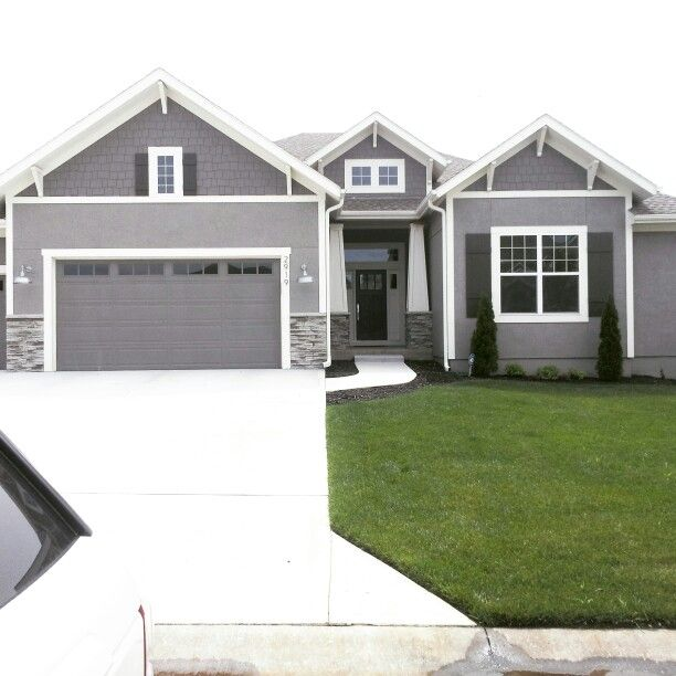 Modern Exterior Paint Colors For Houses Pinterest Gauntlet Gray White Trim And Garage Doors