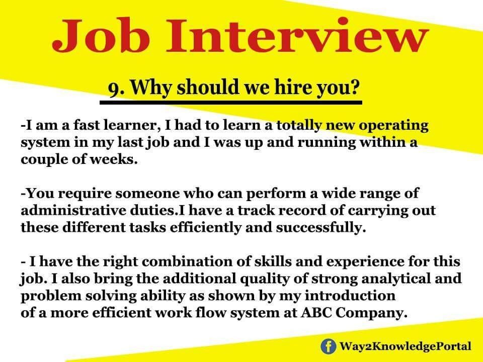 Why Should We Hire You Job Interview Advice Job Interview Tips Job Interview