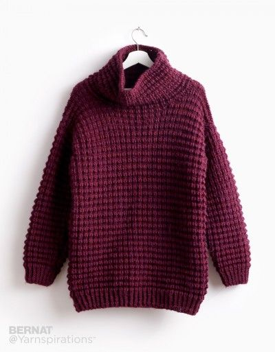 Bernat Easy-Going Knit Pullover, Knit Pattern | Yarnspirations ...