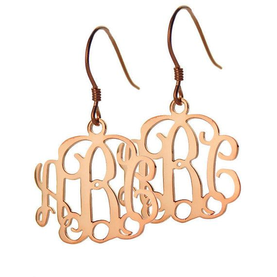 Rose Gold Monogram Earrings 3 Initial Personalized Sterling Silver Monogrammed Gift