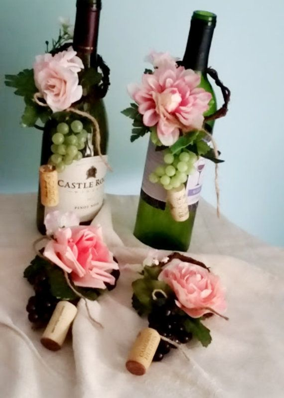 pink wedding centerpieces set of 4 wine bottle by amorebride