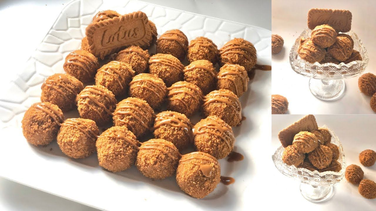كرات اللوتس الذهبية حلى بارد سهل وسريع Lotus Biscoff Truffles Youtube Food Cake Cookies Desserts