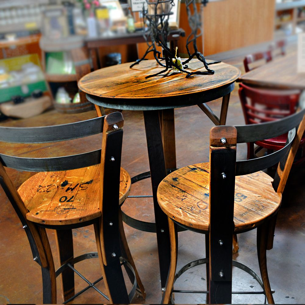 Round high top table and chairs - Wine Barrel High Top Table Chairs Bistro Set
