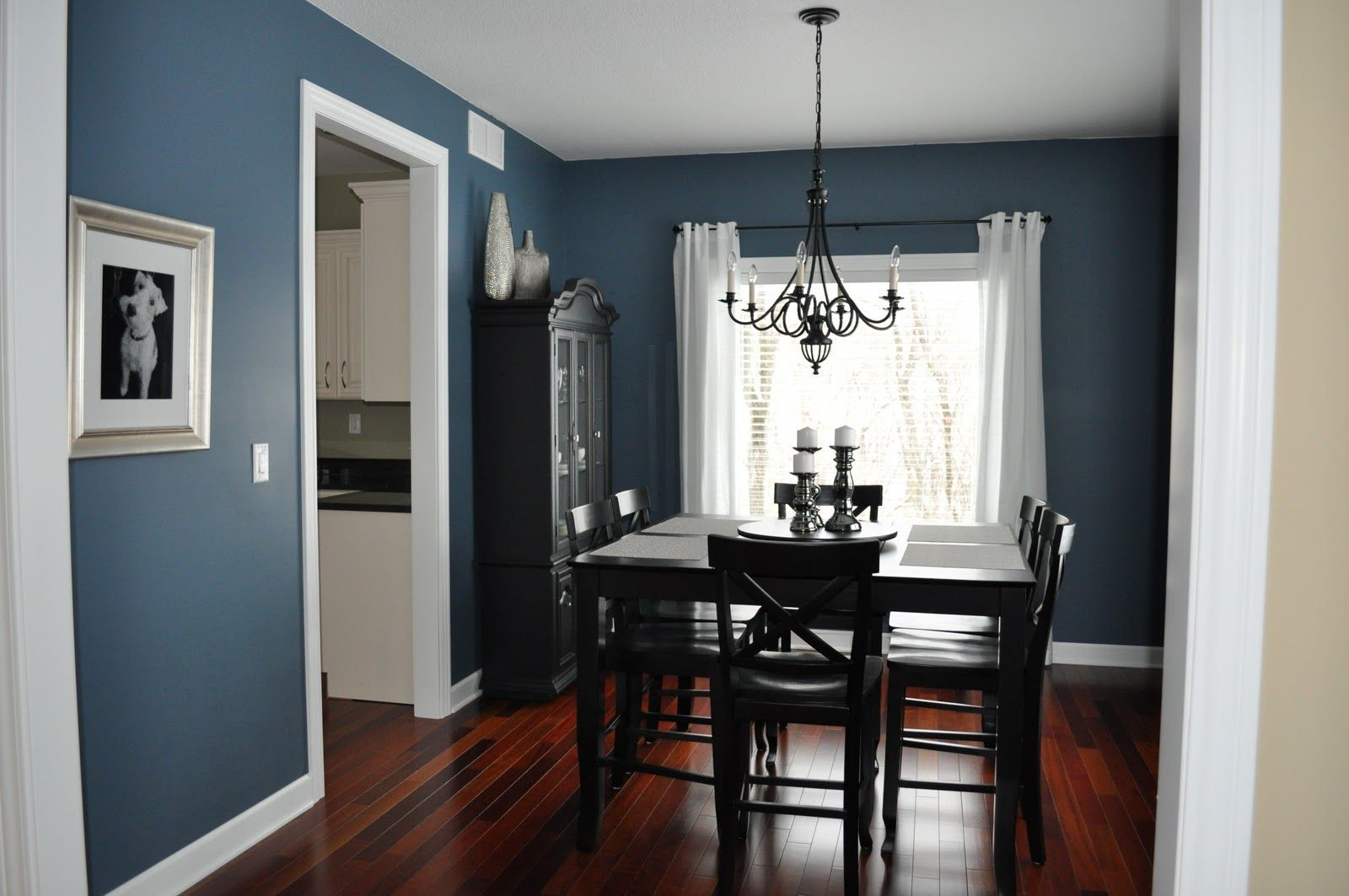 Dining room make over a nice blue that will compliment with