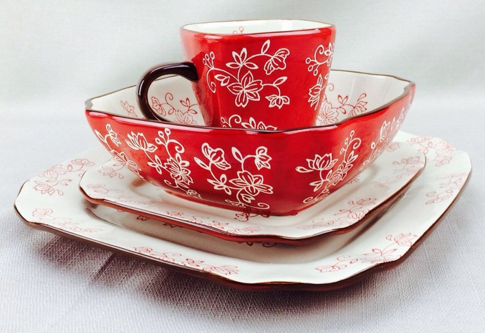 Dinnerware \u0026 Serving Dishes | eBay & New !! Temp-tations Floral Lace 16-piece Square Dinnerware Set ...