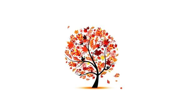 trees autumn leaves artwork simple background white background ...