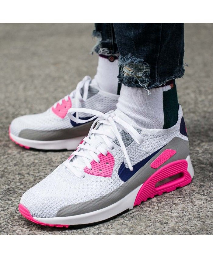 5043c4b453b Cheap Nike Air Max 90 Ultra 2.0 Flyknit White Laser Pink Black Concord  Womens