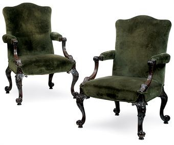 A PAIR OF MAHOGANY GAINSBOROUGH ARMCHAIRS