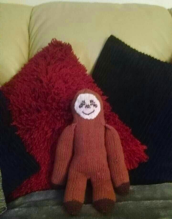 Knitted neil sloth from DFS