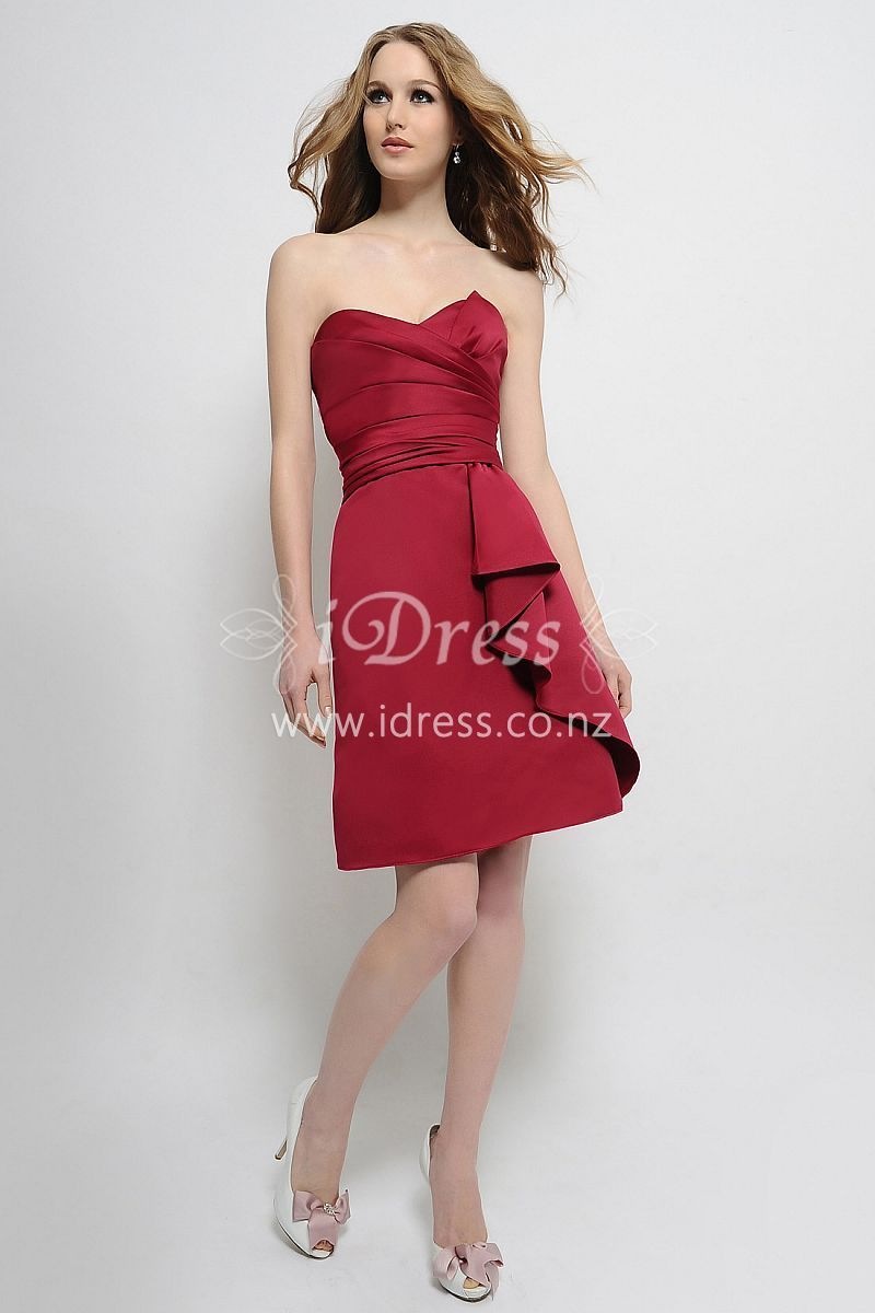 Strapless matte satin cocktail dress made with pleated bodice and