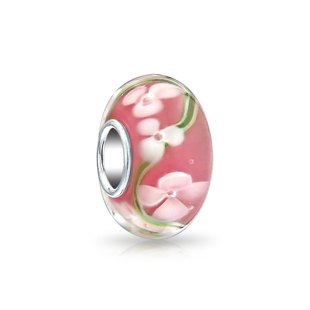 Sterling Silver Murano Glass Pink Rose Flower Bead for European Charm Bracelet