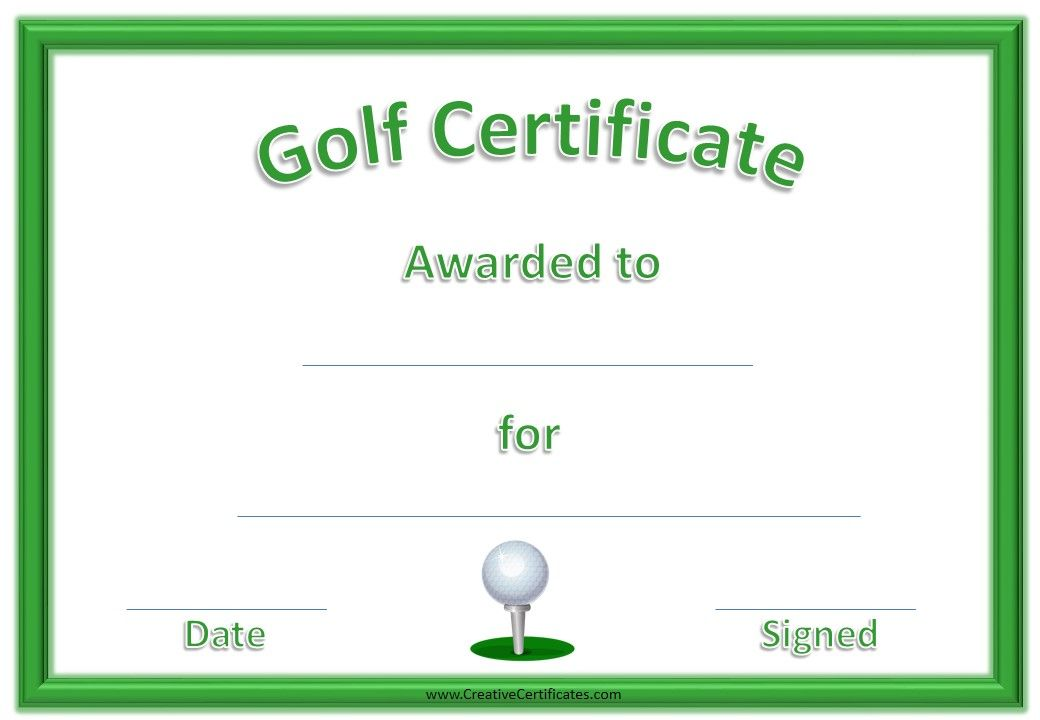 Golf Certificate Templates for Word in 2020 Certificate