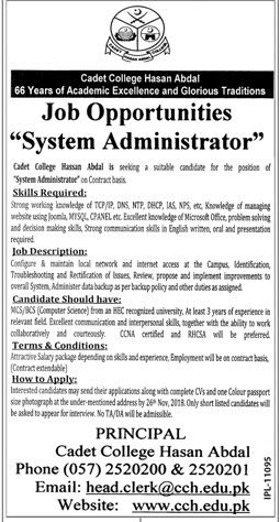 This job Ad published in Jang newspaper on 25-November-2018
