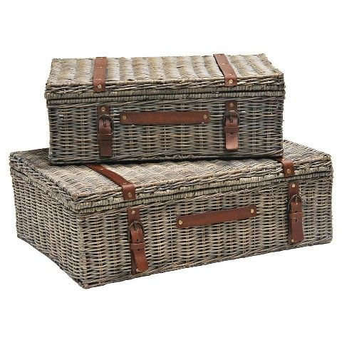 Target Storage Trunk Captivating Wicker Storage Trunk Graywash Finish  Set Of 2  Product Love Decorating Inspiration