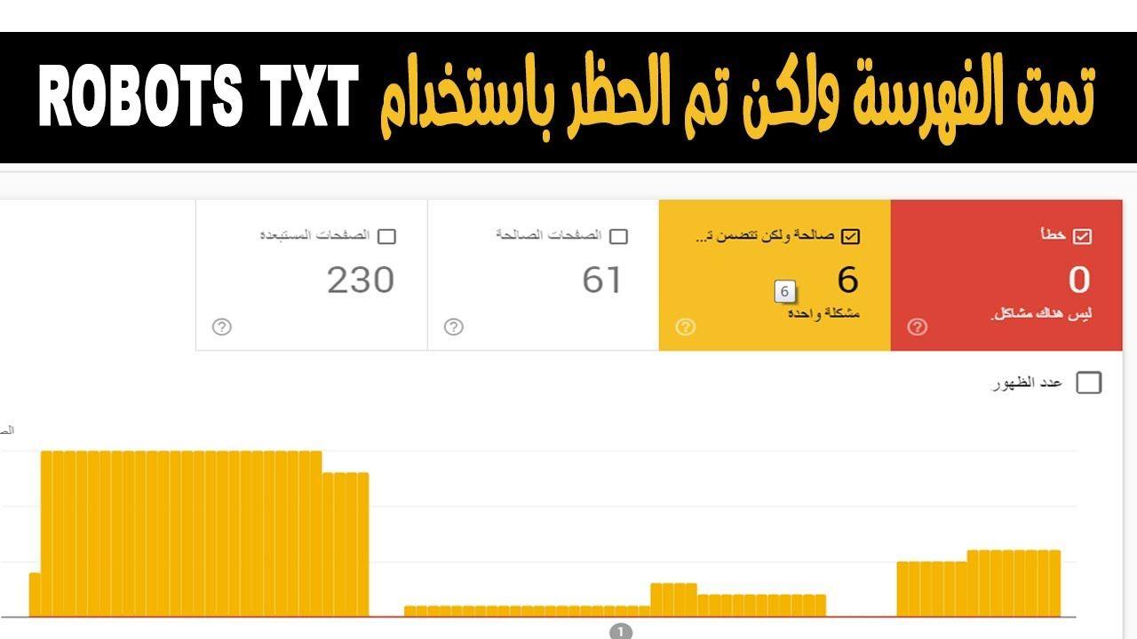 حل مشكلة تمت الفهرسة ولكن يتم الحضر باستخدام Robots Txt الحل النهائي 2020 Bar Chart Txt Google
