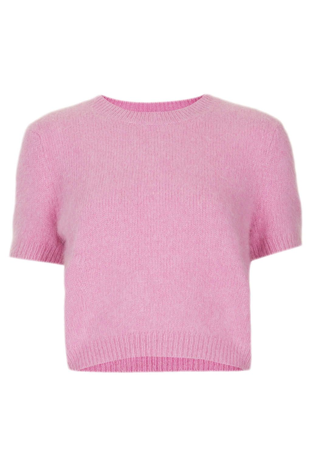 Topshop Knitted Fluffy Angora Jumper in Pink | Lyst | Crop top ...