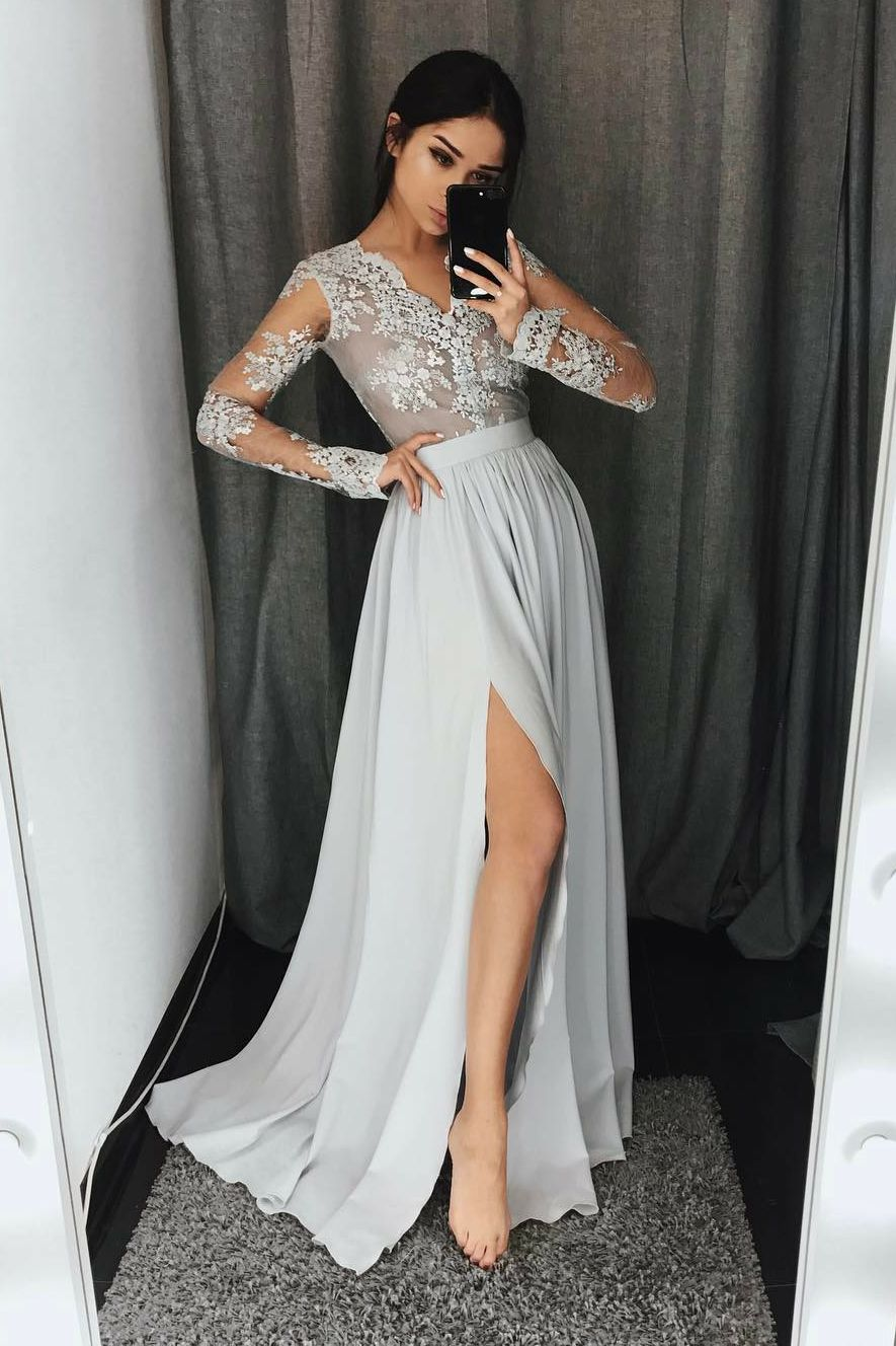 Aline vneck long sleeves light gray prom dress with appliques