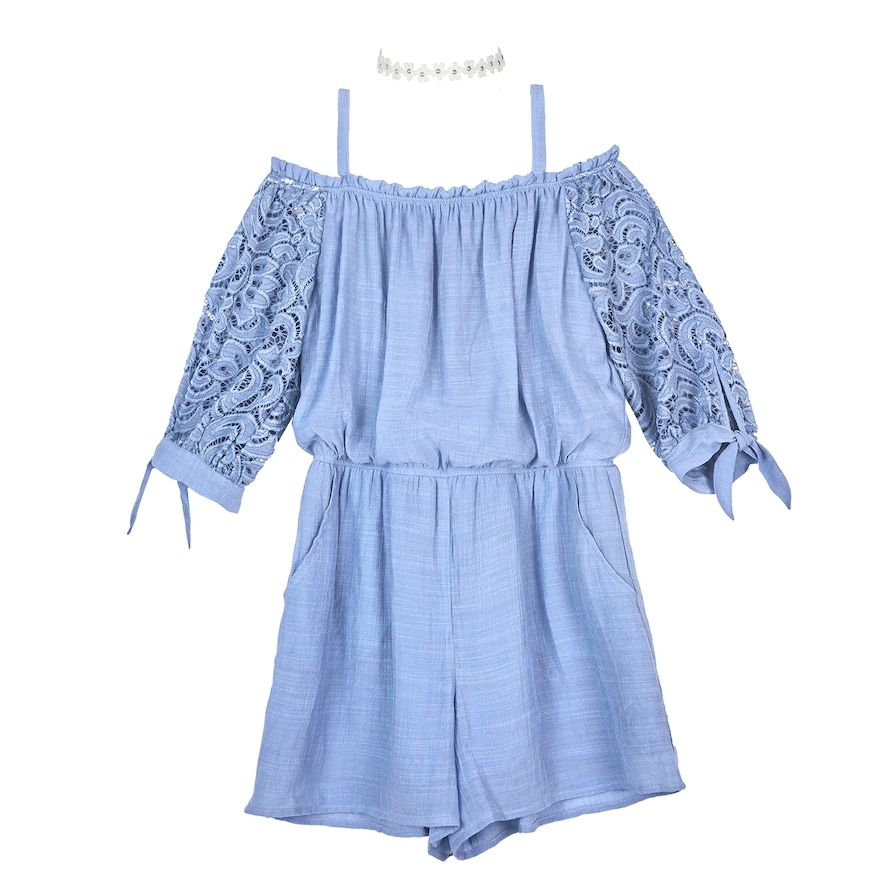 a5fdaa5eec9f1 Girls 7-16 IZ Amy Byer Lace Sleeves Off-the-Shoulder Romper & Necklace Set,  Size: Small, Blue