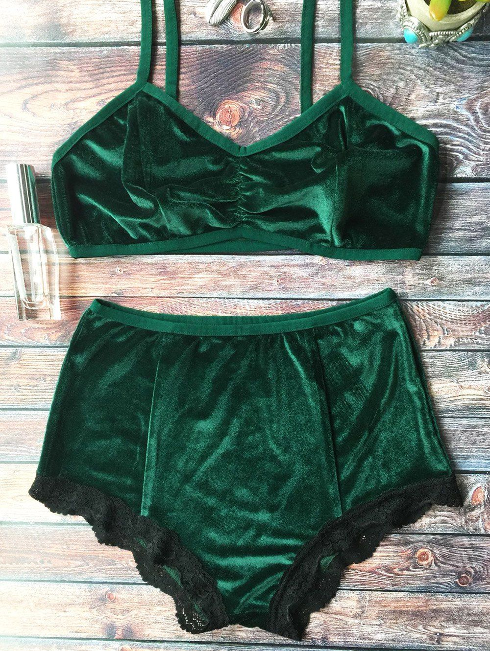 21999c6bb Lace Hem High Waisted Velvet Bra Set BLACKISH GREEN: Lingerie ...