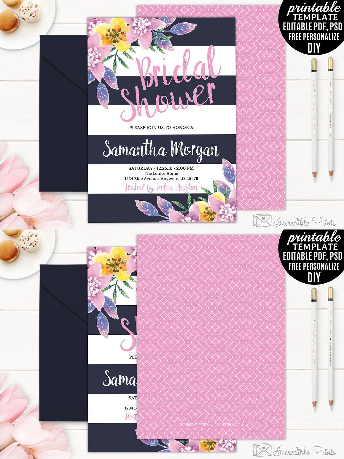 Navy And Pink Bridal Shower Invitation Template Psd Bridal
