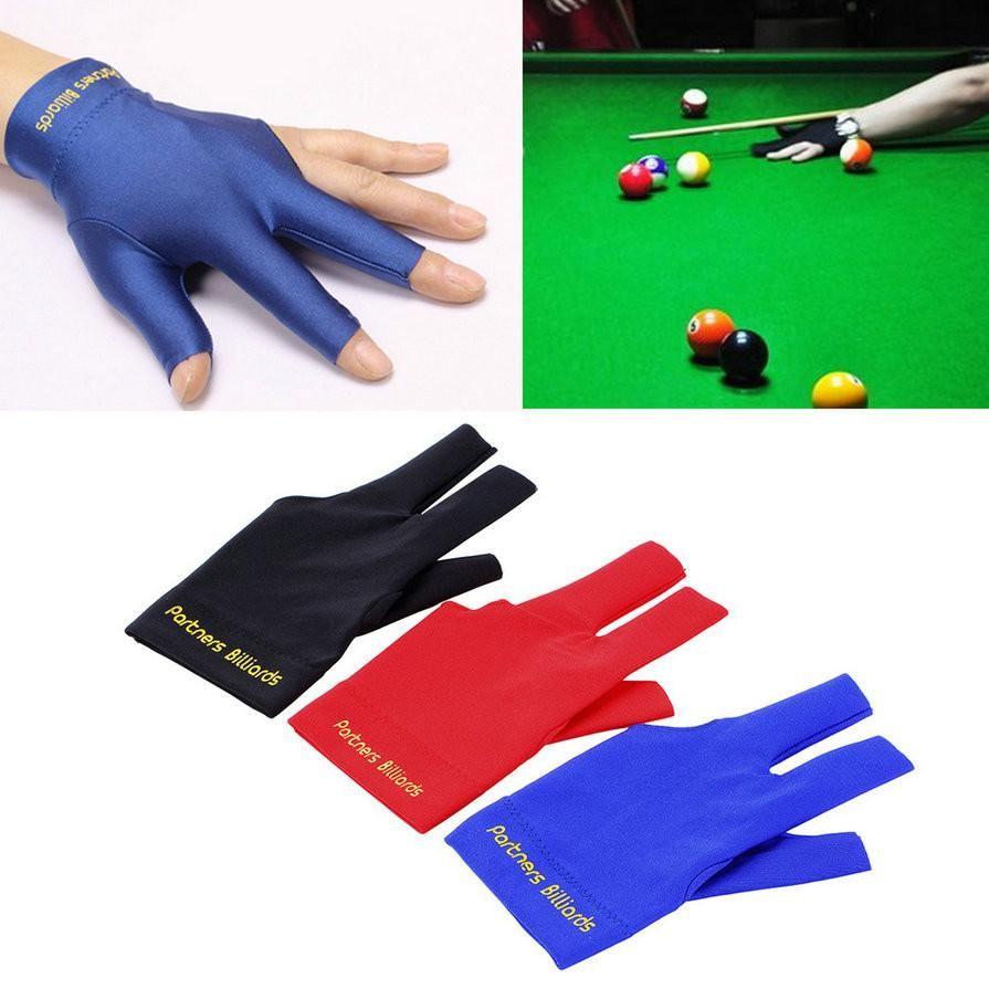 Spandex Snooker Billiard Cue Glove Pool Left Hand Three Finger Accessory Black.