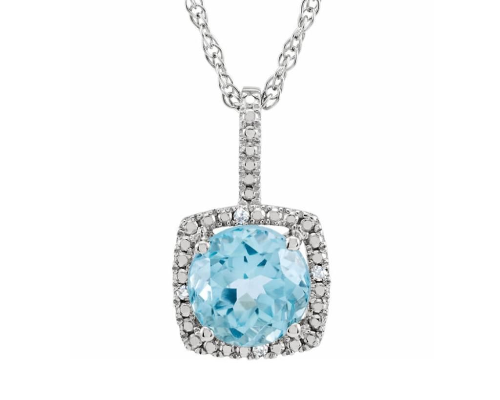 Sparkling sterling silver pendant with sky blue topaz surrounded sparkling sterling silver pendant with sky blue topaz surrounded by halo of sparkling diamonds in 0015 mozeypictures Images