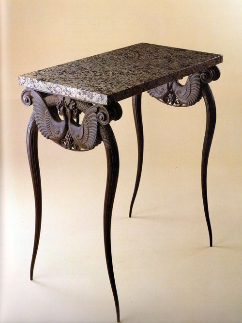 Reproduction of a patinated bronze console table created for the apartment of Jeanne Lanvin, the famous French fashion designer, in 1920-22 by Armand-Albert Rateau.