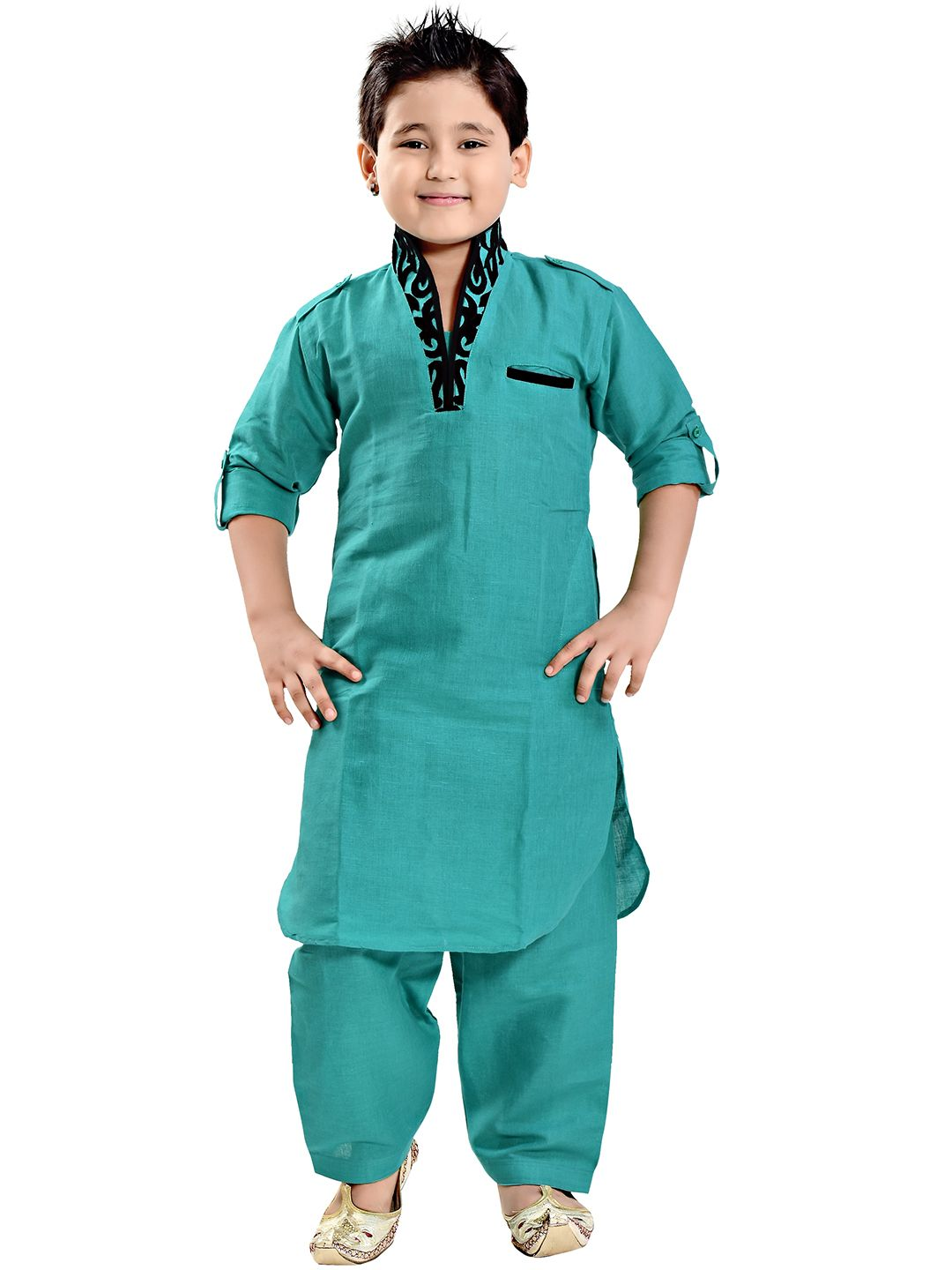 Aqua Green Linen Festive Wear Plain Pathani Suit | Buy Boy\'s Ethnic ...