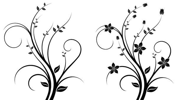 Black And White Abstract Flower Designs