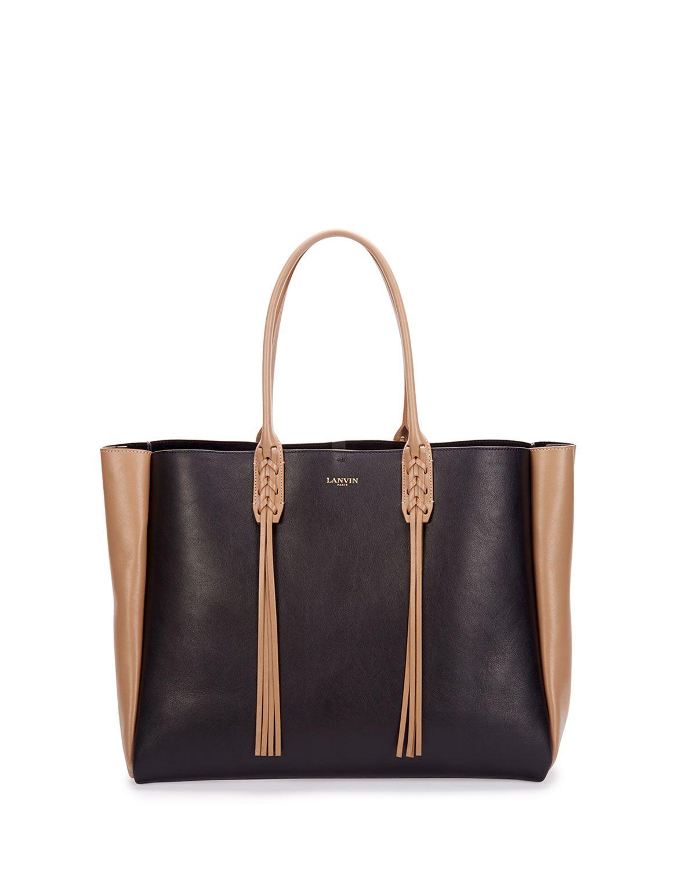 Medium Bicolor Leather Tote Bag w/Fringe, Black/Tan - Lanvin