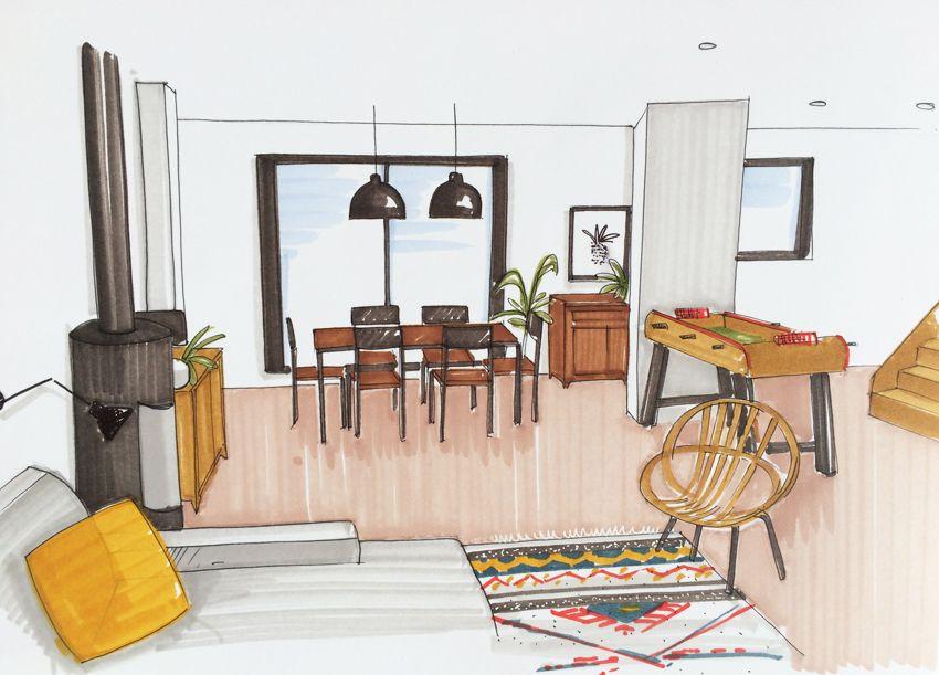 Un salon dans une maison de famille - coach deco Lille Croquis - apprendre a dessiner une maison