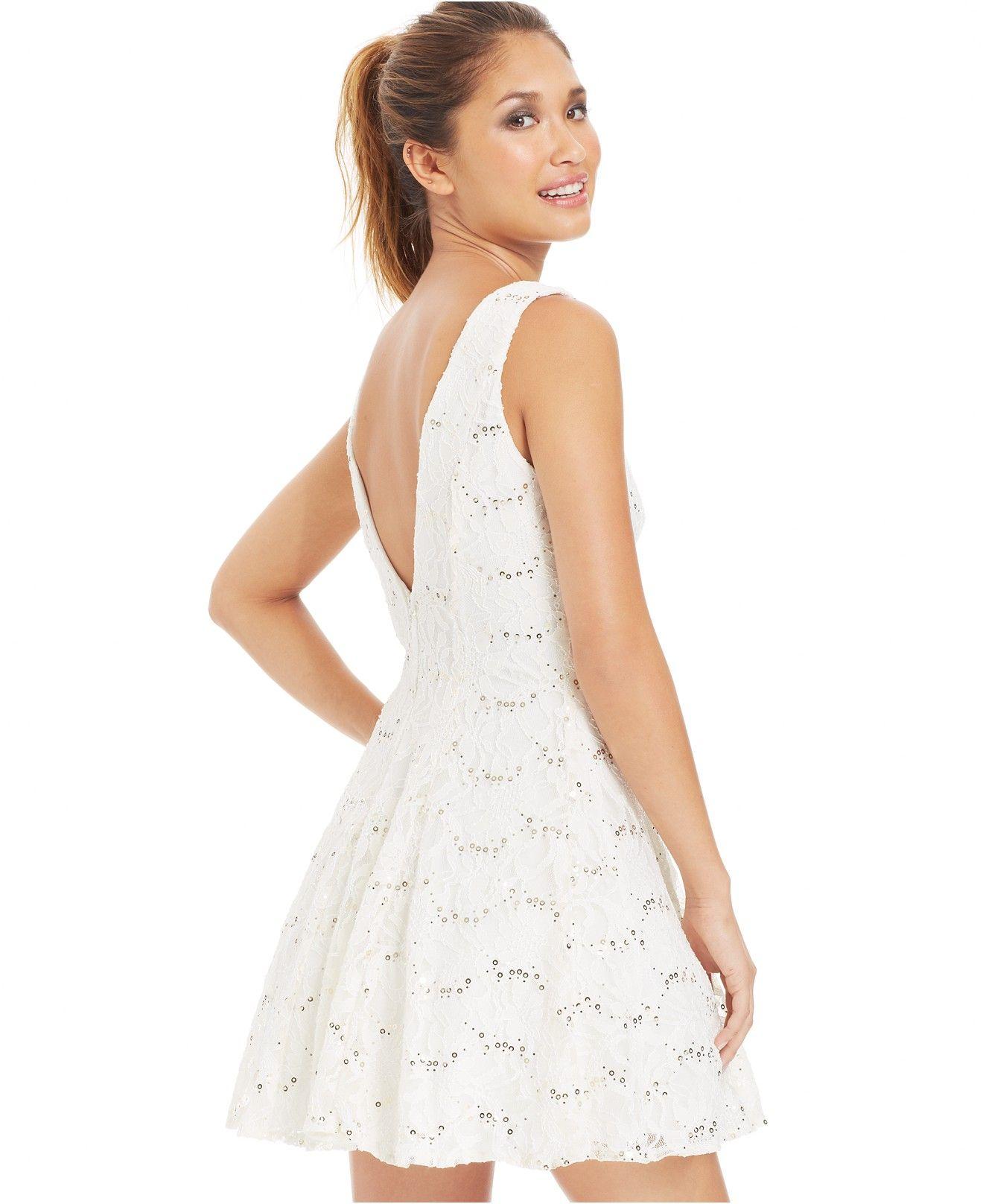 01f892cc248f3 B Darlin Juniors' Sequin Lace Dress - Juniors Dresses - Macy's ...