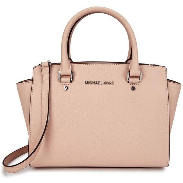 0726ac88baaf ... shop womens shoulder bags michael kors selma medium blush leather tote  405 liked on polyvore featuring