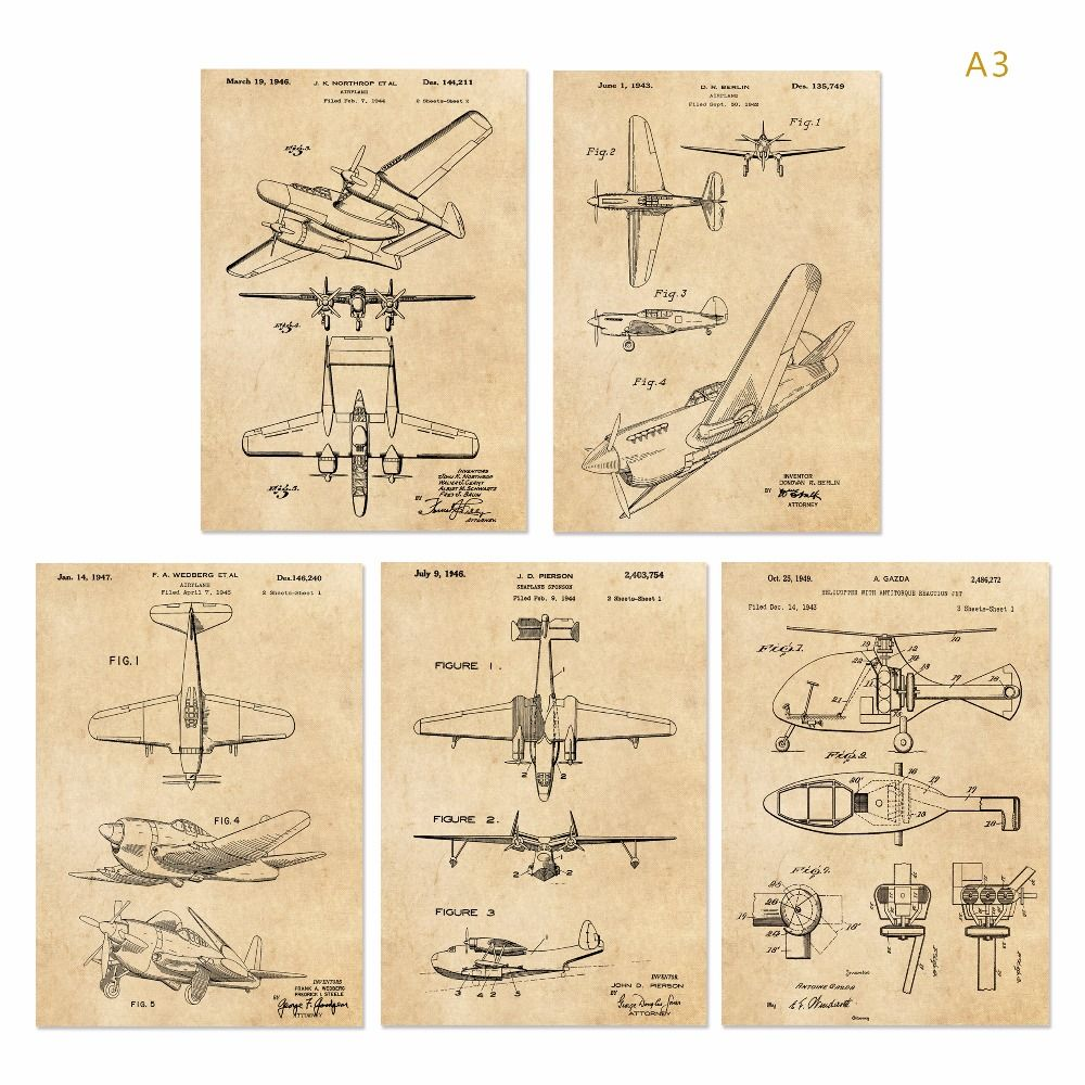 Vintage patent art G2 world war II Airplane poster sets 5 in 1 ...