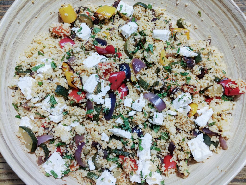 FETA AND MINT COUS COUS WITH ROASTED VEG